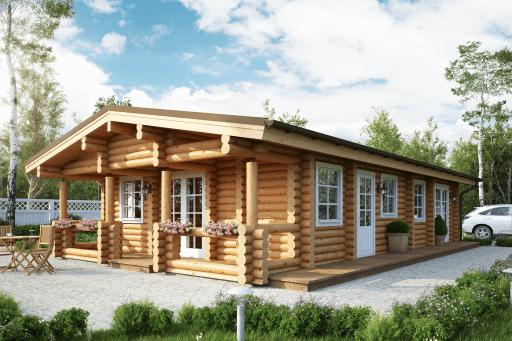 Houten chalet logbouw